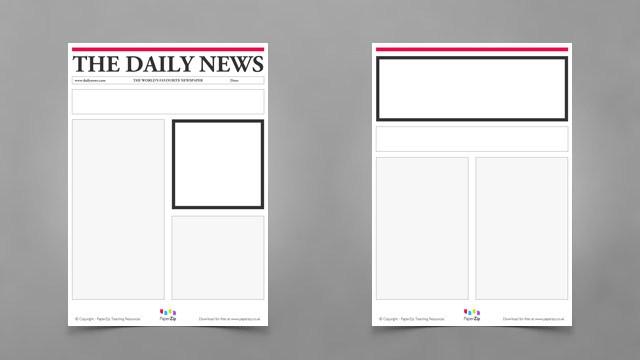 image relating to Printable Newspaper Templates named Blank Newspaper Templates - PAPERZIP