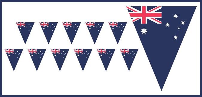image regarding Australian Flag Printable called Australian Flag Bunting - PAPERZIP