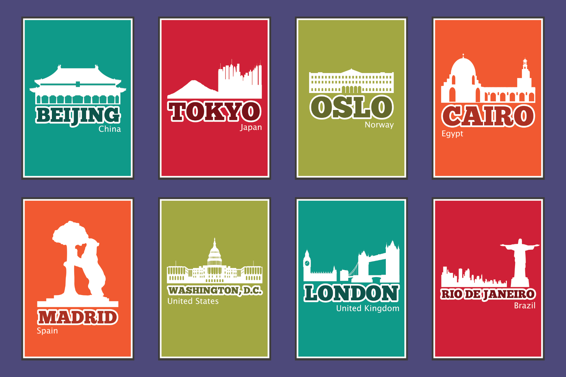 reference cards for famous cities around the world