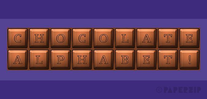 free printable chocolate bar alphabet