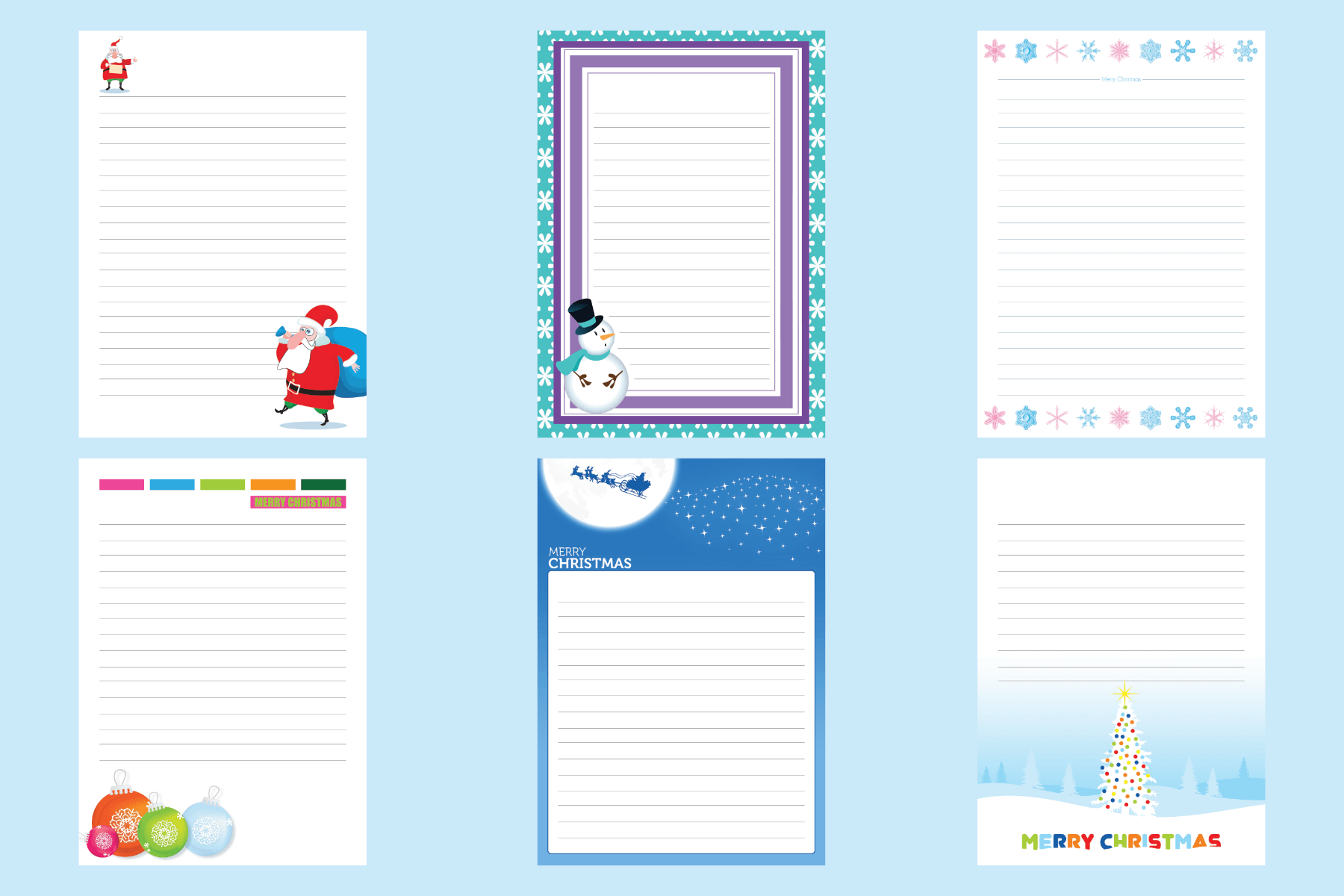 Christmas Writing Templates Paperzip