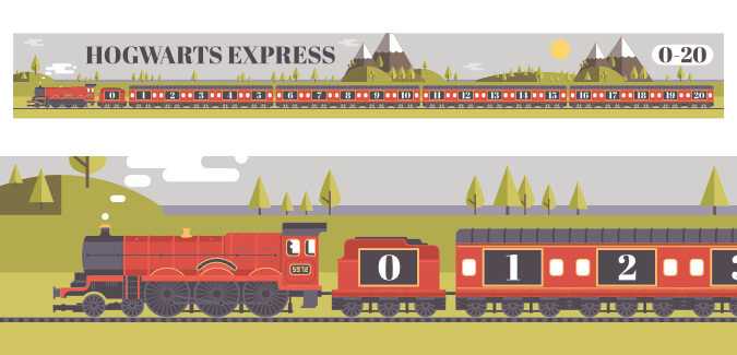 harry potter number line hogwarts express