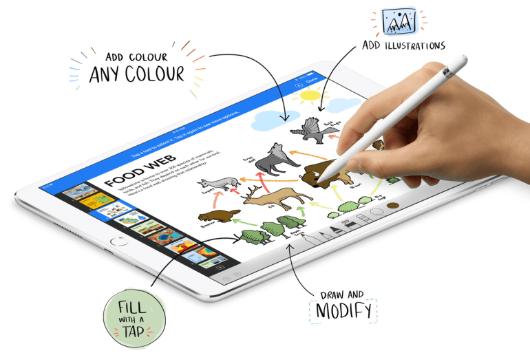 apple pencil on the new ipad keynote app