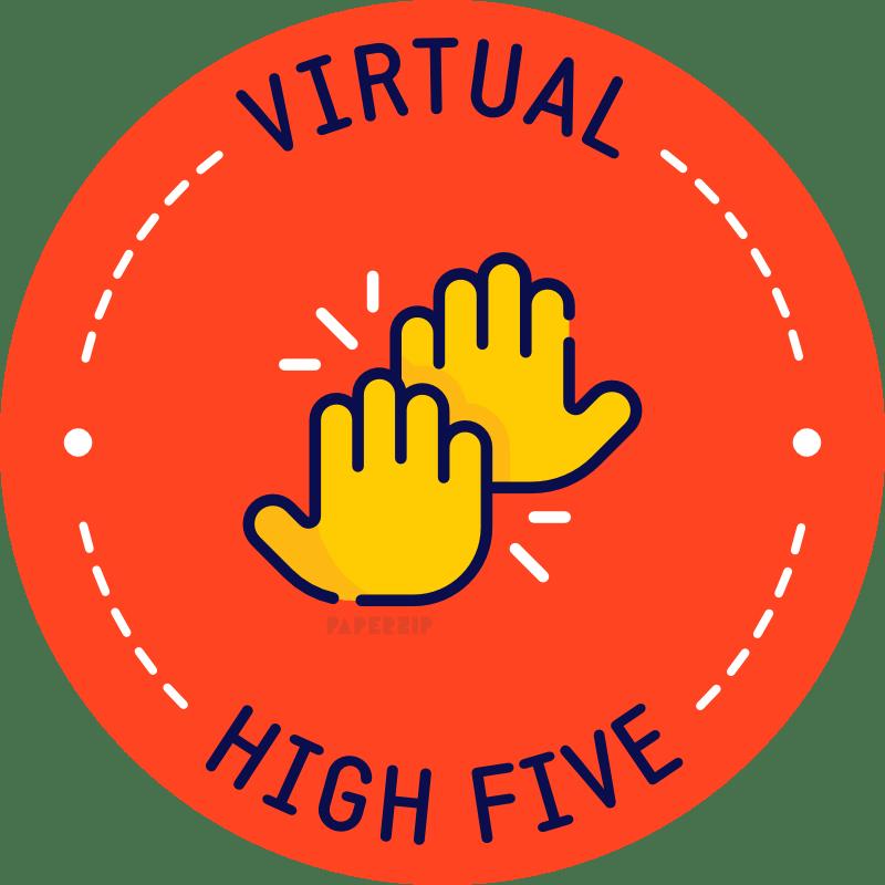 virtual high 5 red sticker