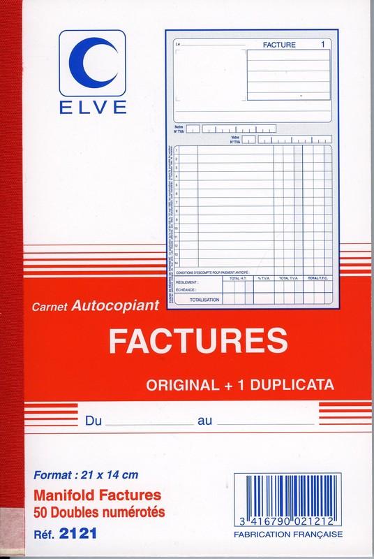 Carnet De Factures En Duplicata Format A5 Avec Colonne TVA