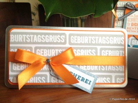 Männer, Stampin'Up!, 65. Geburtstag, Schiefergrau, Orangentraum, Petrol, Schokoladendose, Blechdose