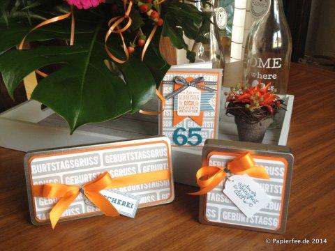 Männerkarte, Stampin'Up!, 65. Geburtstag, Schiefergrau, Orangentraum, Petrol, Schokoladendose, Blechdose