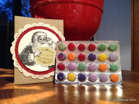 Adventskalender to go, Stampin Up, Smarties, Schokolinsen, Weihnachtsmann