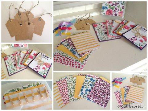 """Stampin'Up! Designerpapier """"Zarter Frühling"""", Thinlit Form Schmetterlinge, Goldfolie, , Stanze Etikettanhänger"""