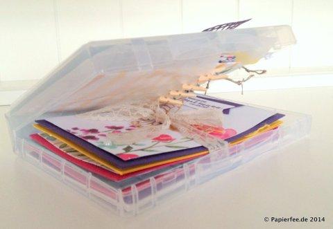 """Stampin'Up!, Box für Holzstempel, Designerpapier """"Zarter Frühling"""", Thinlitsform Schmetterlinge"""