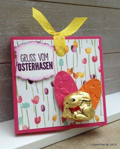 """Stampin'Up! Schokoladenlift, Gruß vom Osterhasen, Designerpapier Zarter Frühling , Stempelset """"Ei, Ei, Ei"""", Stanze Oval, Textured Impressions Prägeform Frühlingsblumen,"""