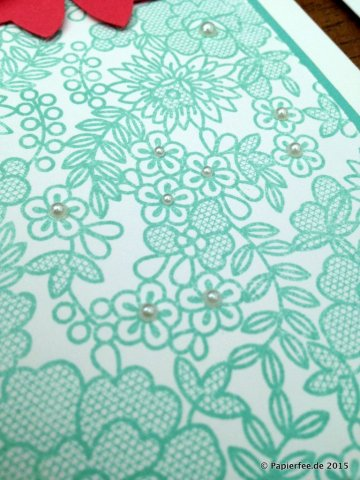 Stampin'Up! Karte, Einladung, Elementstanze Schleife, Perlen, Something Lacy