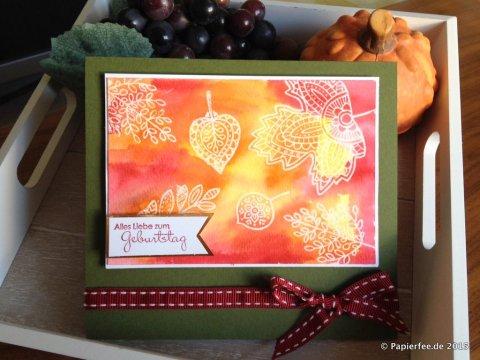 Stampin'Up! Stempelset Blättertanz, Herbst-/Winterkatalog, Aquarellpapier, Geburtstagskarte