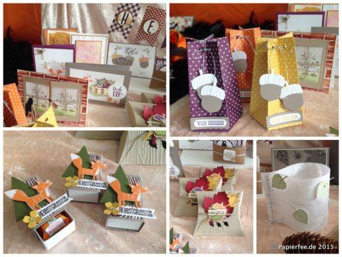 Stampin'Up! Herbst, Autumn, Harvest, Pillowbox, Eichelstanze, Herbstgrüße, Blättertanz, Thankful Forest Friends, Designerpapier Am Waldrand