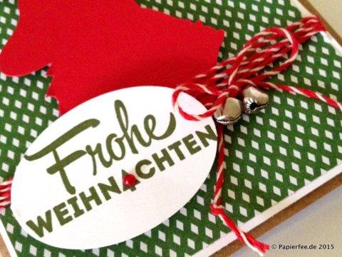 """Stampin'Up! Weihnachtskarte mit Hirsch, Stempelset """"Freude zur Weihnachtszeit"""", Glutrot, Gartengrün"""