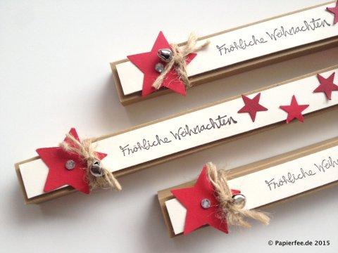 Stampin'Up! Schoko-Lift, Geschenkidee zu Weihnachten, Advent, Sternstanze, Glöckchen, Glitzersteine, IttyBitty Stern, Glutrot, Vanille