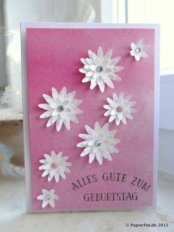 Stampin'Up! Geburtstagskarte, Kunstvoll kreiert, Dreierlei Blüten Stanze