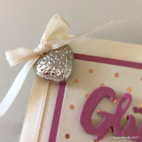 Stampin'Up! Karte zur goldenen Hochzeit, Glückwunschkarte, Stempelset Meilensteine, Zarte Pflaume, Vanille