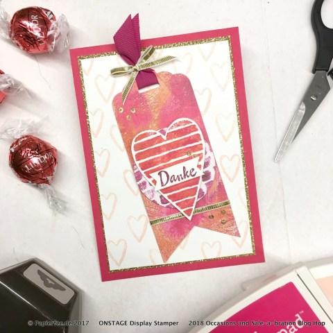 """Stampin'Up! Occasions Catalog 2018, Frühjahr-/Sommerkatalog2018, Thank you Card, Love, Danke Karte, Liebe, Besonderes Designerpapier """"Mit Liebe gemalt"""""""