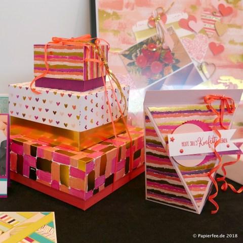 Stampin'Up! Thementisch, Frühjahrskatalog 2018, Gemalt mit Liebe, Designerpapier, Stempelset, Karten, Klemmbrett, Knallbonbons, Dekoration