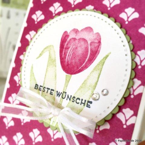 Stampin'Up! Frühling, Geschenktüten, Stanz und Falzbrett für Geschenktüten, Designerpapier, InColor 2016-2018, Sommerbeere, Tranquil Tulips, Stitched Framelits, Lachenderes Kreise
