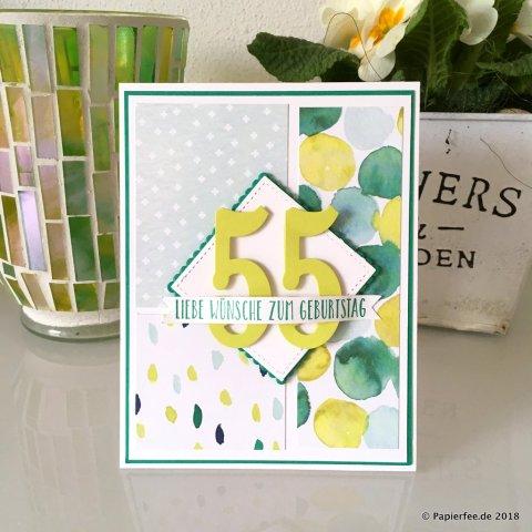 Stampin'Up, Karte zum Geburtstag, Geburtstagskarte, Designerpapier bunte Vielfalt, Zahlenframelits
