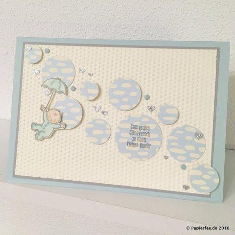 Stampin'Up! Babykarte, Jungenkarte, Karte zur Geburt, Glückwünsche zur Geburt, Designerpapier, Stampin'Blends
