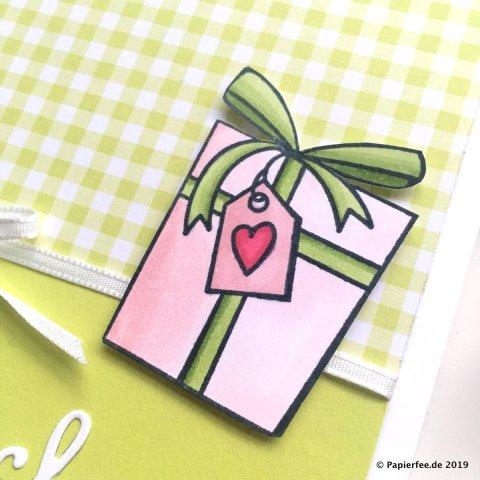 """Stampin'Up!, Gutschein verschenken Stempelset """"Birthday Cake"""", Framelitsformen Schön Geschrieben, Designerpapier Gartenglück, InColor 2017-2019, Limette, Stampin'Blends"""