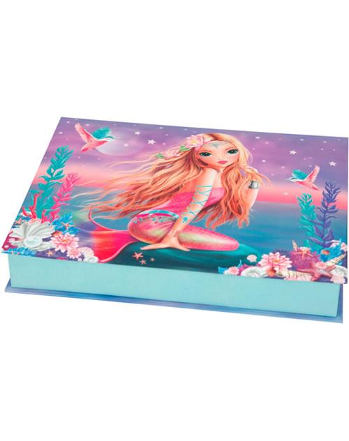 topmodel boite avec des articles de papeterie fantasy model sirene