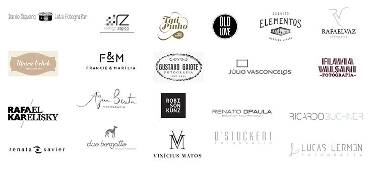 Quadro 3. Logotipos de alguns fotógrafos do nicho de fotografia de casamento em nível nacional, retirados da internet.