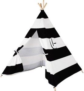 Kindertipi wigwam zwart-wit gestreept katoen - Speeltent