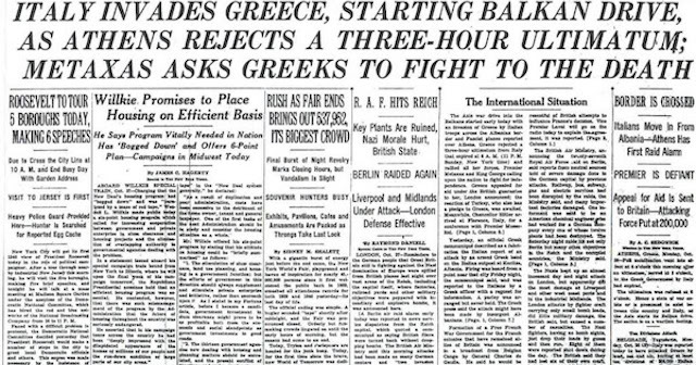 Authentic : Greek Fight to your Death, NYT 28/10/1940
