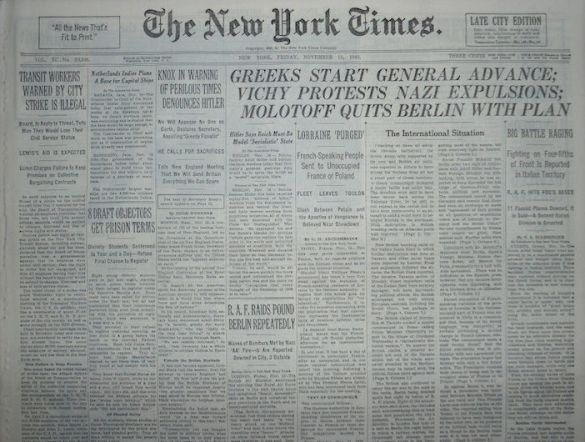 When Headlines Spoke Volumes About Greece's Role in WWII: Check Out These New York Times Headlines from the 1940s