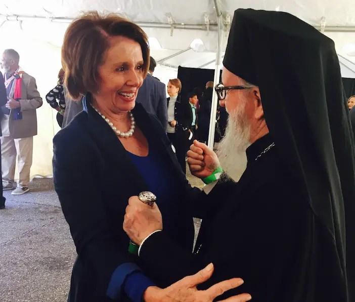 Former House Speaker Nancy Pelosi and Archbishop Demetrios