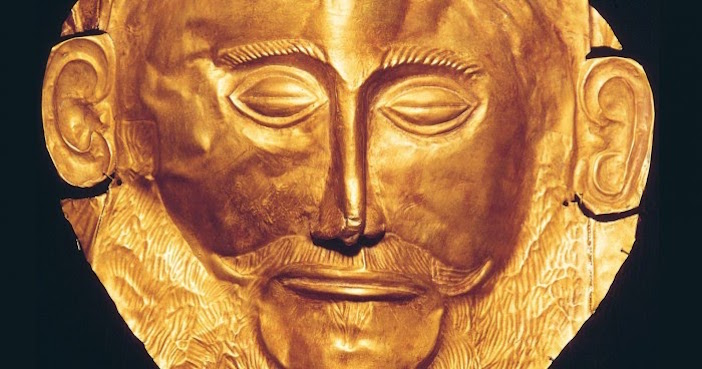 The so-called gold death-mask of Agamemnon, found in Mycenae by Heinrich Schliemann in 1876 is one of the items on exhibition.