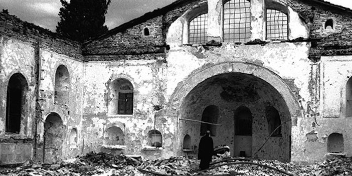 Ecumenical Patriarch Athenagoras I of Constantinople inside the ruins of the destroyed Orthodox church of Saint Constantine, Istanbul.