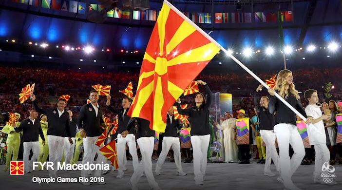 The official IOC placard for the Former Yugoslav Republic of Macedonia's delegation