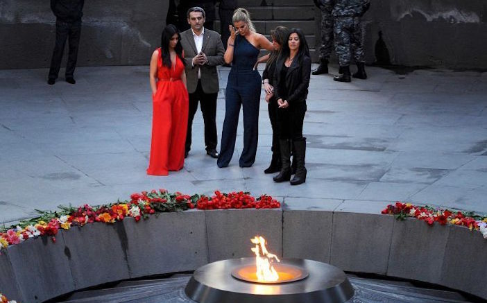 The Kardashian family in Armenia during centennial commemorations of the Armenian genocide.