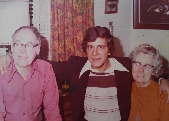 Photios and his sponsor family, the Cooleys, shortly after meeting for the first time in the early 1970s