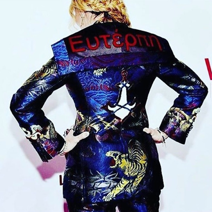 The back of Madonna's Gucci pant suit with the name Euterpe on it, the Greek muse of music and lyric poetry.