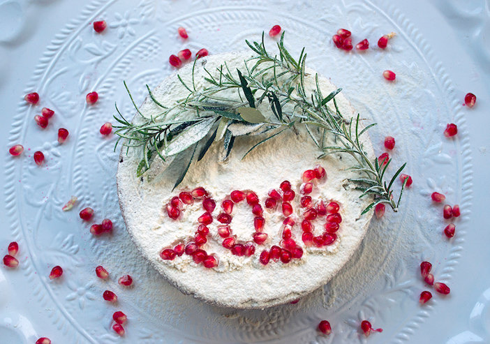 The New Year is often displayed with pomegranates, a symbol of the season.