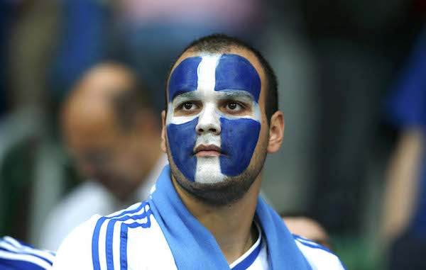 Greece's fan looks dejected after the Group A Euro 2012 soccer match against Czech Republic at city stadium in Wroclaw