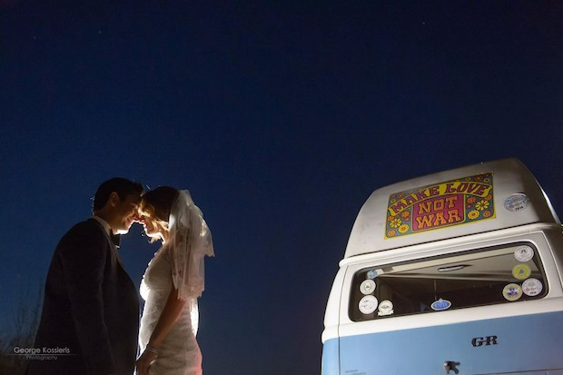 The Tonis Sfinos van-- a sixties relic the couple rode away in after the wedding