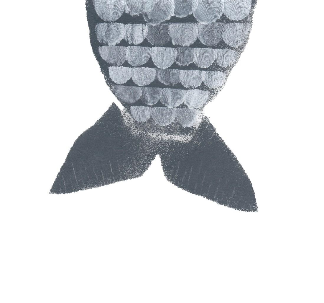 Fischschwanz-Schuppenfisch-Fingerabdruck