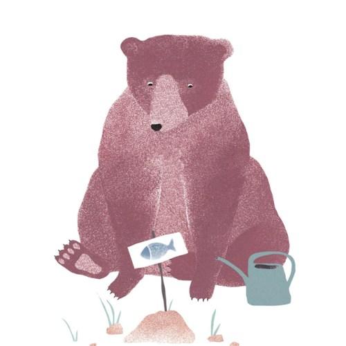 Bär-Gartenillustration-Frühlingsbär
