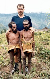 European man & Papua Yali tribe – mountain pygmey
