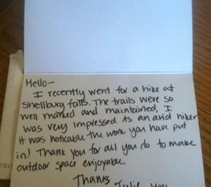 Kartka od pieszego turysty, który dziękuje za udogodnienie terenu ekipie zarządzającej okolicznymi lasami i rezerwatami zdj. flickr/ Oregon Department of Forestry's...