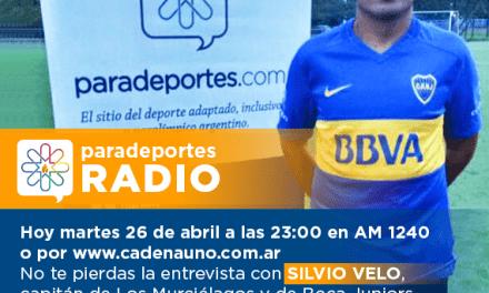 Entrevista a Silvio Velo, capitán de Los Murciélagos y de Boca, hoy martes a las 23 en Paradeportes Radio (AM 1240)