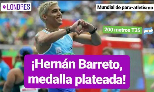 Londres 2017: plata para Hernán Barreto en los 200 metros