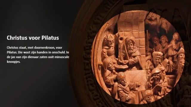 Uitvergroting van een gebedsnoot: Pilatus die zijn handen wast in onschuld. Bron: smallwonders.nl